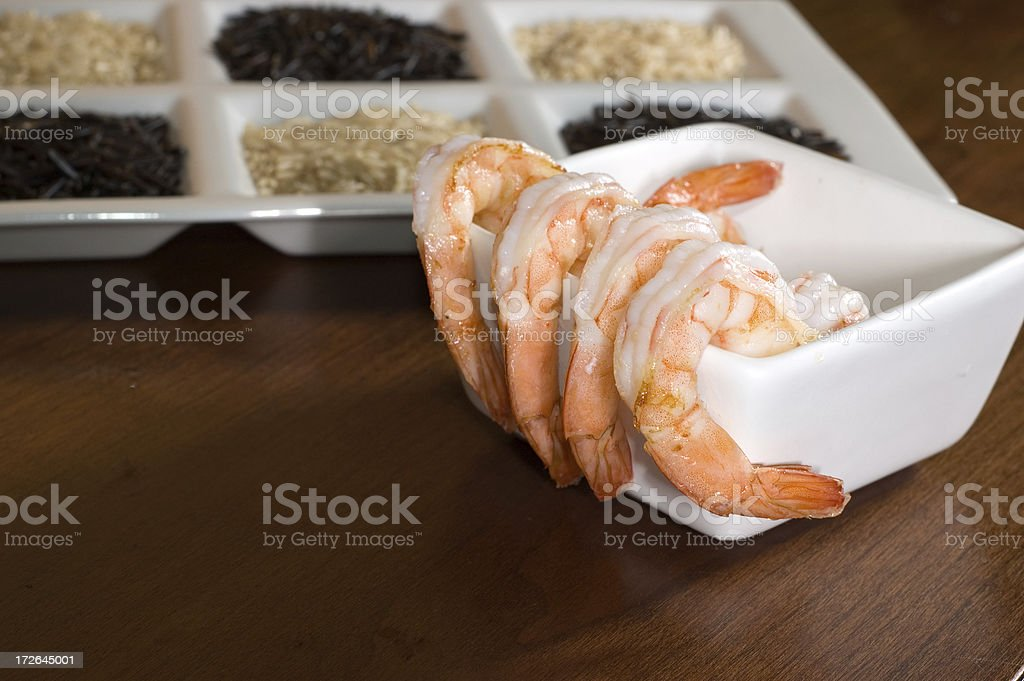 Cooked shrimp and rice royalty-free stock photo