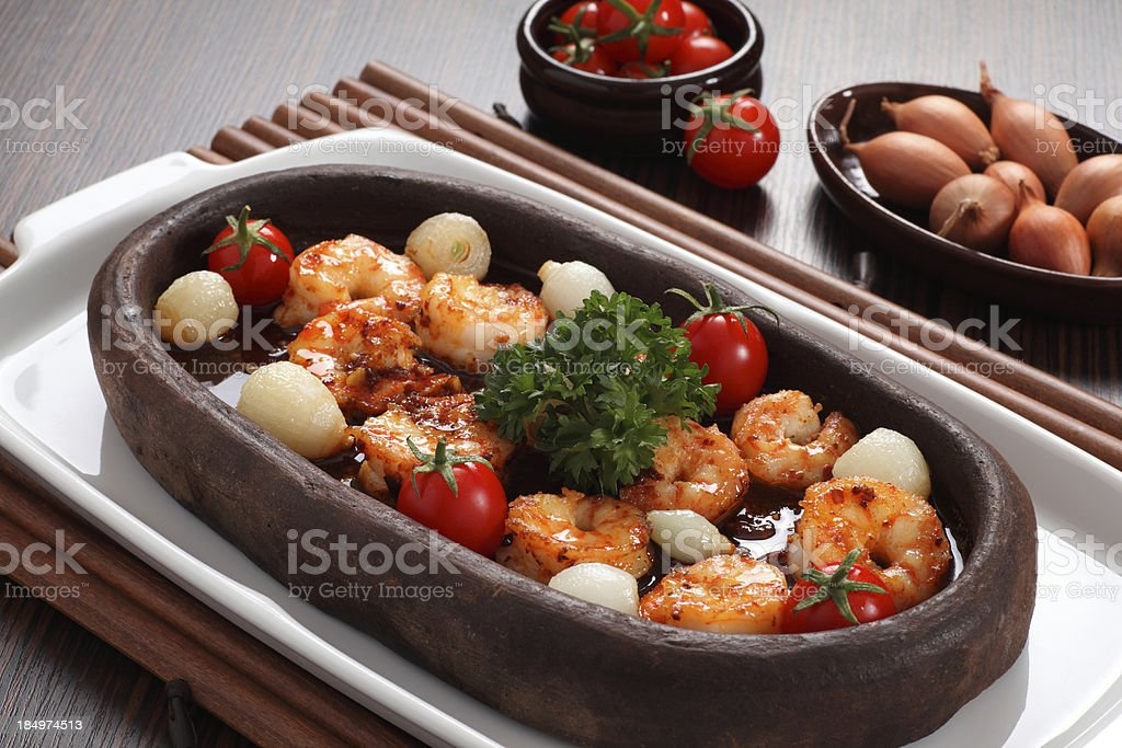 Cooked shrimp for eating royalty-free stock photo