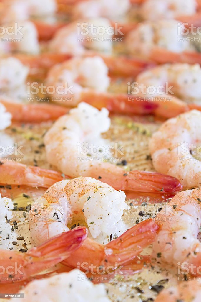 Cooked Shrimp with Herbs royalty-free stock photo