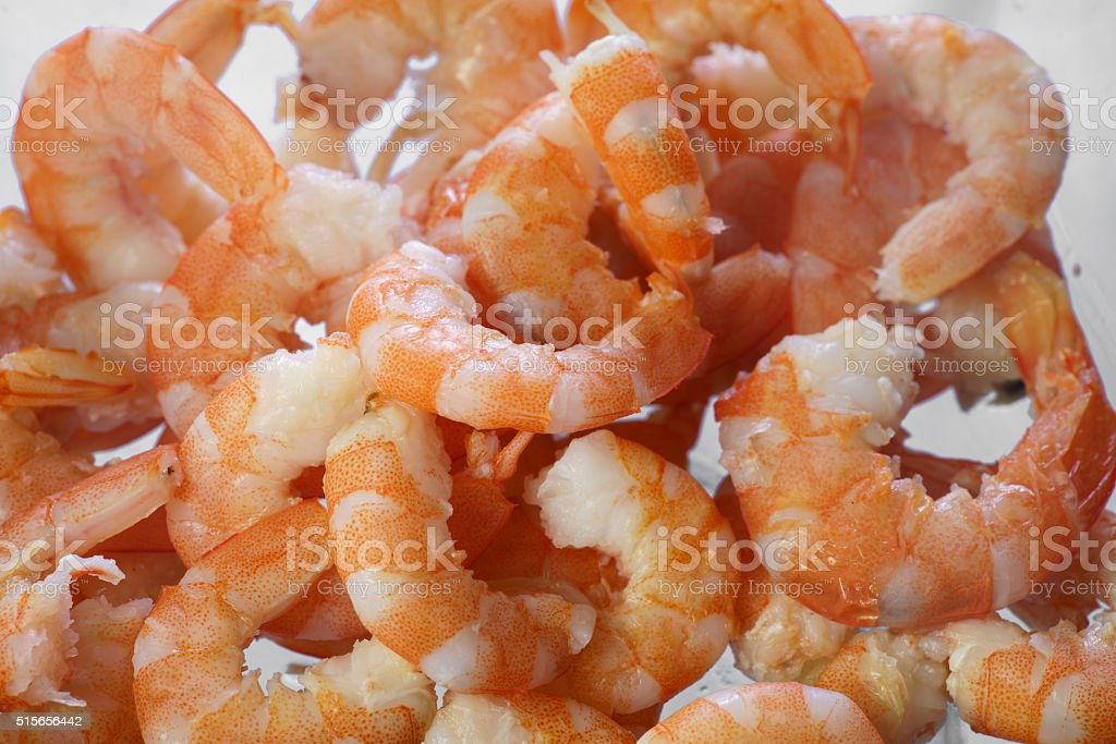 Cooked shrimps close up stock photo