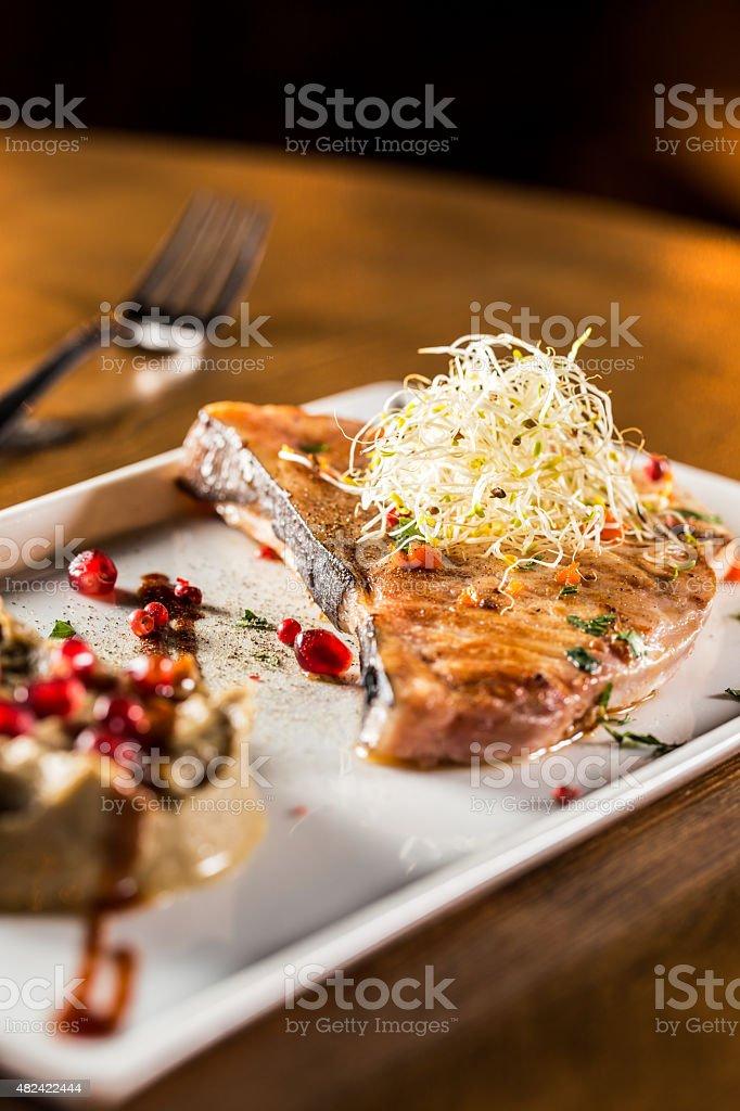 Cooked swordfish stock photo