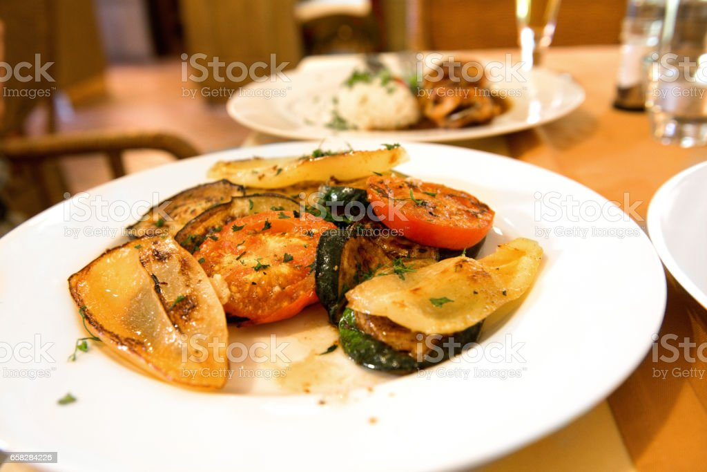 cooked tuna fish vegetables grilled stock photo