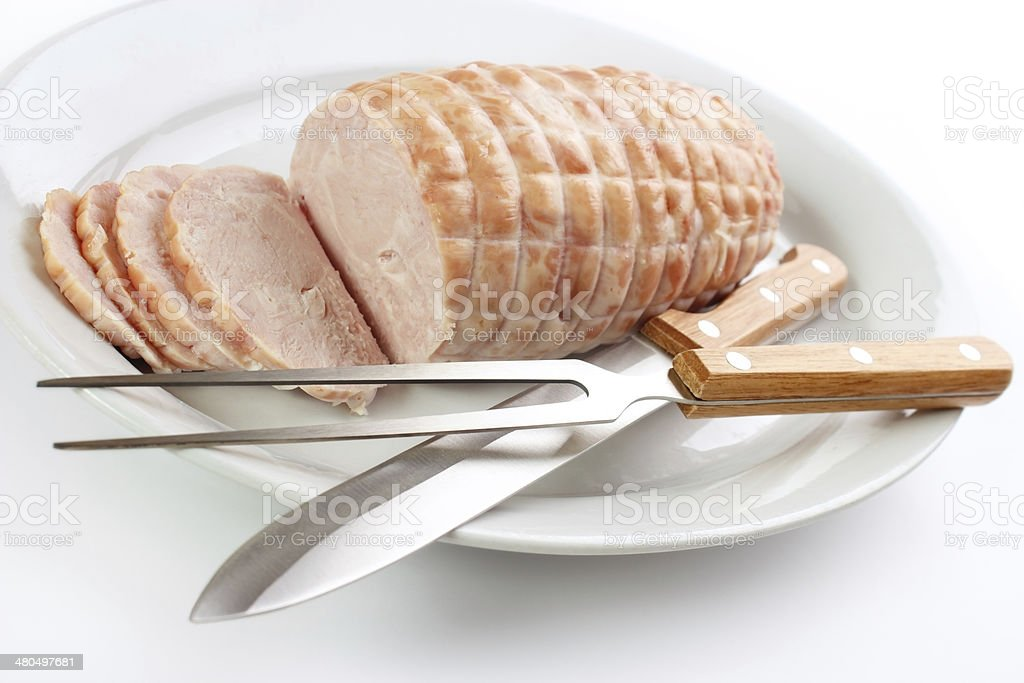 Cooked turkey breast roll royalty-free stock photo