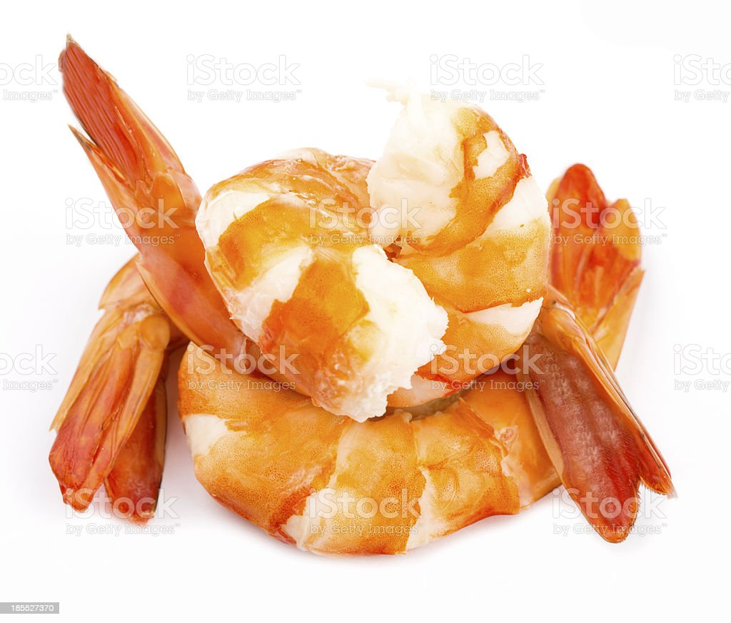 cooked unshelled tiger shrimps stock photo