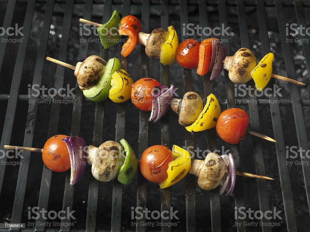 Cooked Vegetable Kabobs stock photo