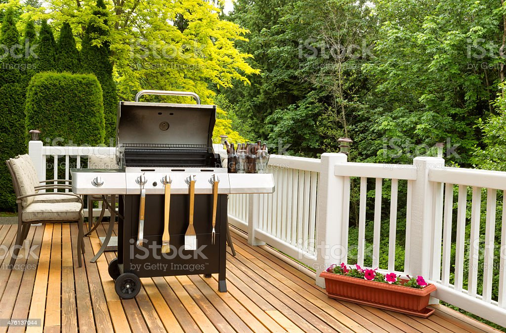 BBQ cooker and cookware ready to cook stock photo