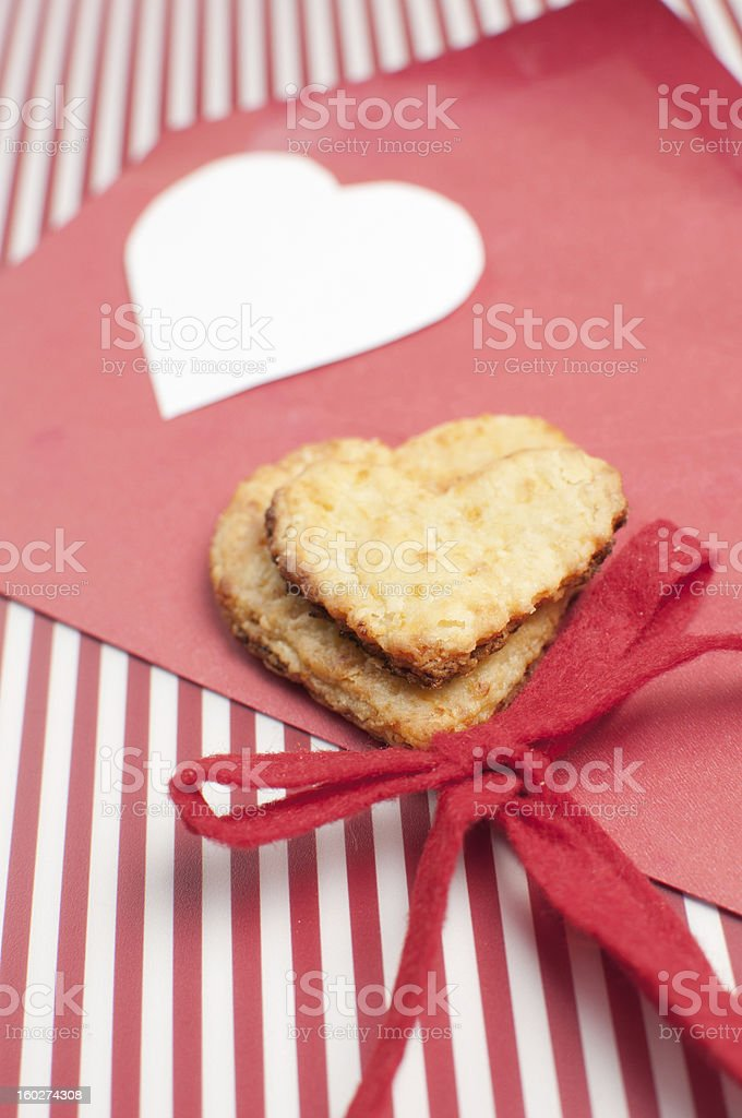 cookie and heart shaped copy space royalty-free stock photo