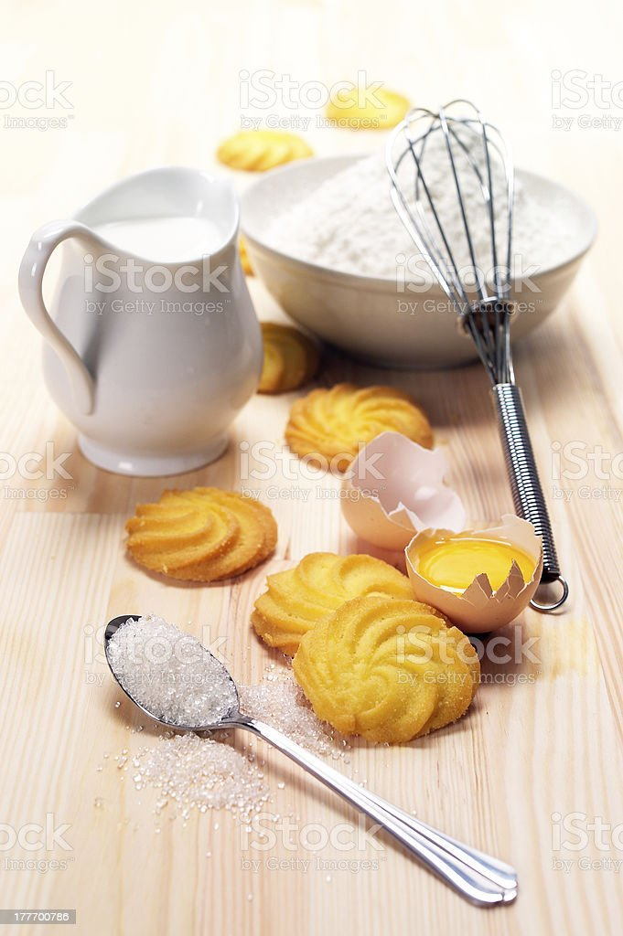 Cookie Baking Ingredients Laid Out on Table royalty-free stock photo