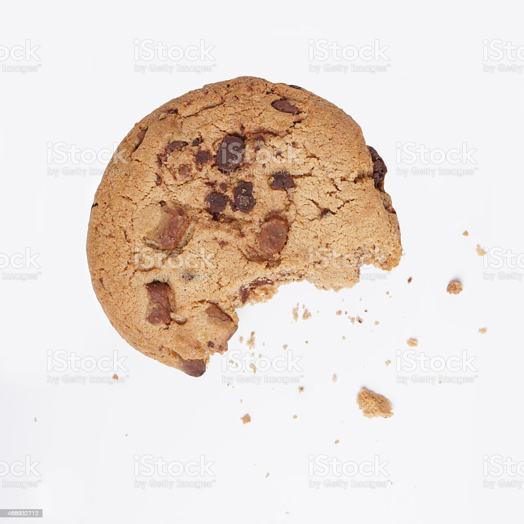cookie bitten into stock photo
