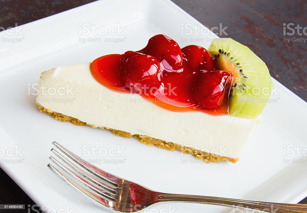 Cookie Cheesecake, Jam strawberries and kiwi fruit. stock photo