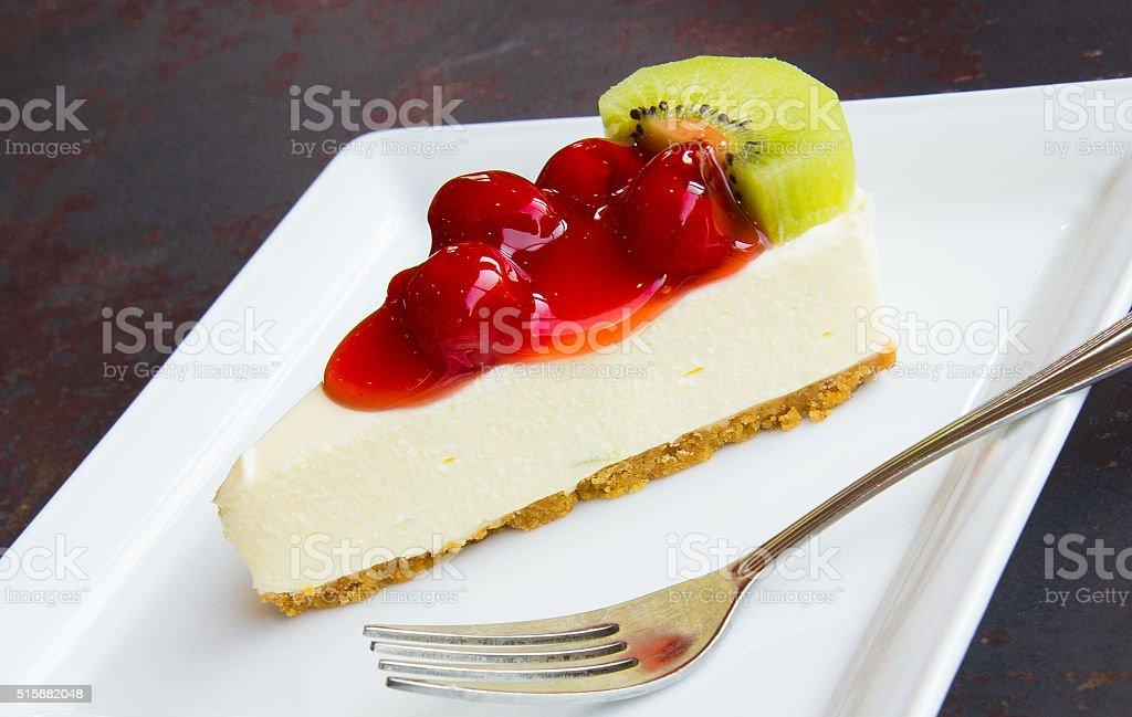 Cookie Cheesecake, Jam strawberries and kiwi fruit. stock photo