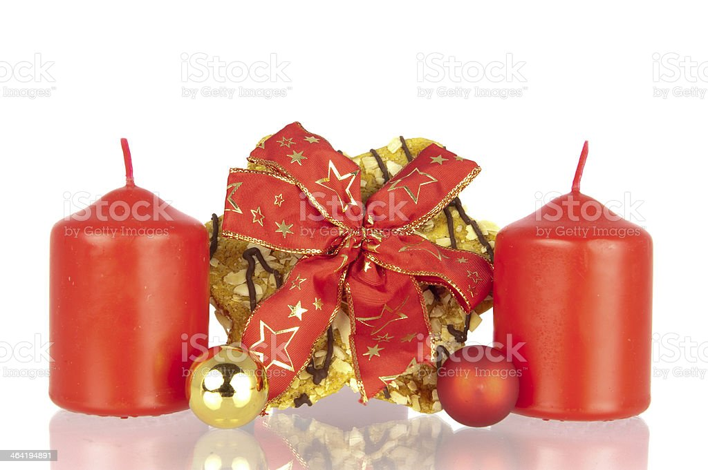 Cookie Christmas ribbon balls candles stock photo