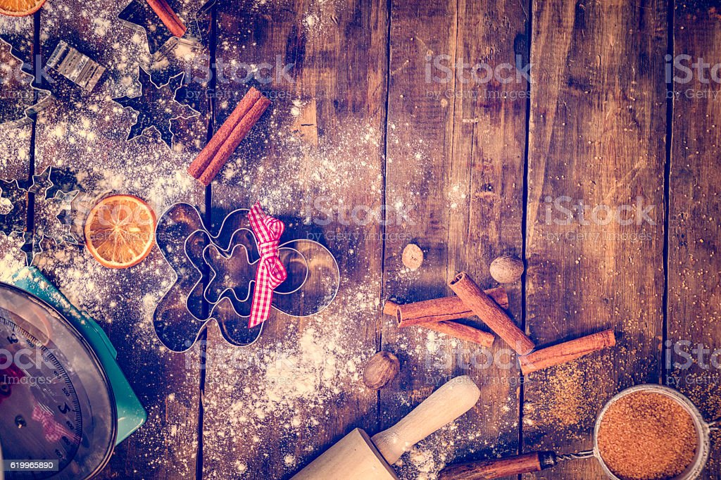 Cookie Cutters and Baking Utensils Ready for Christmas Baking stock photo