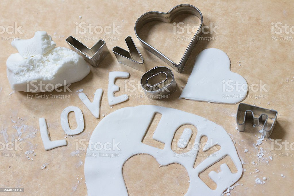 Cookie cutters and Gum paste with Love stock photo