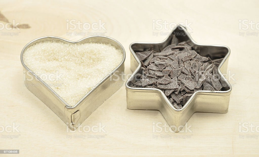cookie cutters with sugar and chocolate royalty-free stock photo
