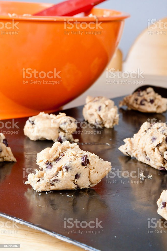 Cookie Dough and Mixing Bowl royalty-free stock photo