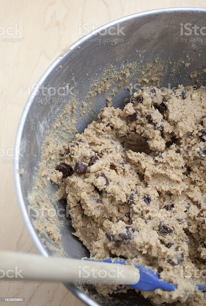 Cookie Dough in Mixing Bowl stock photo