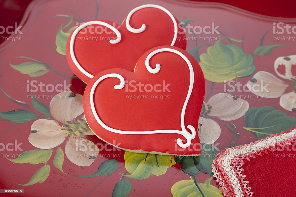 Cookie Heart Shaped Valentine's Day Cookies, Sweet Holiday Dessert Food stock photo