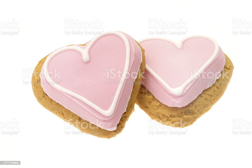 Cookie hearts with pink icing stock photo