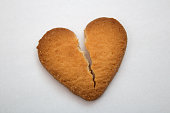 Cookie in the form of broken hearts, symbol of love
