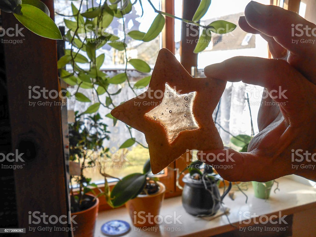 Cookie in the shape  of a star stock photo