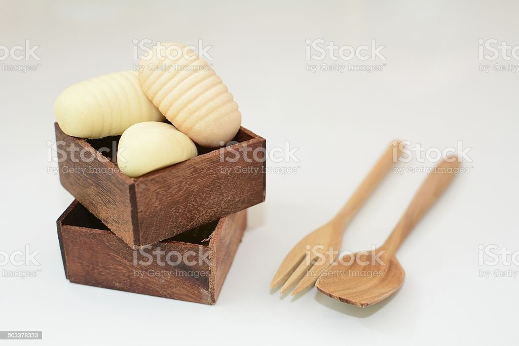 cookie in wooden box stock photo
