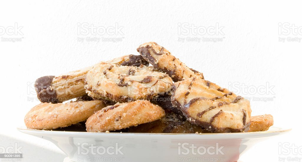 Cookie on the plate 2.-isolated -  white stock photo