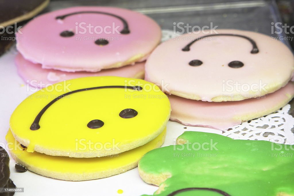 Cookie Smiley Face Icing Dessert Treat royalty-free stock photo