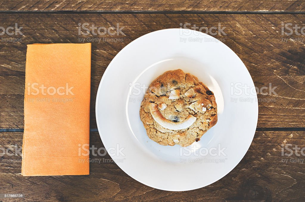 Cookie with a Smile on its Face stock photo