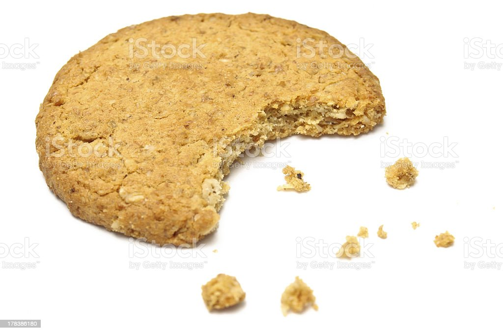 Cookie with crumbs side view stock photo