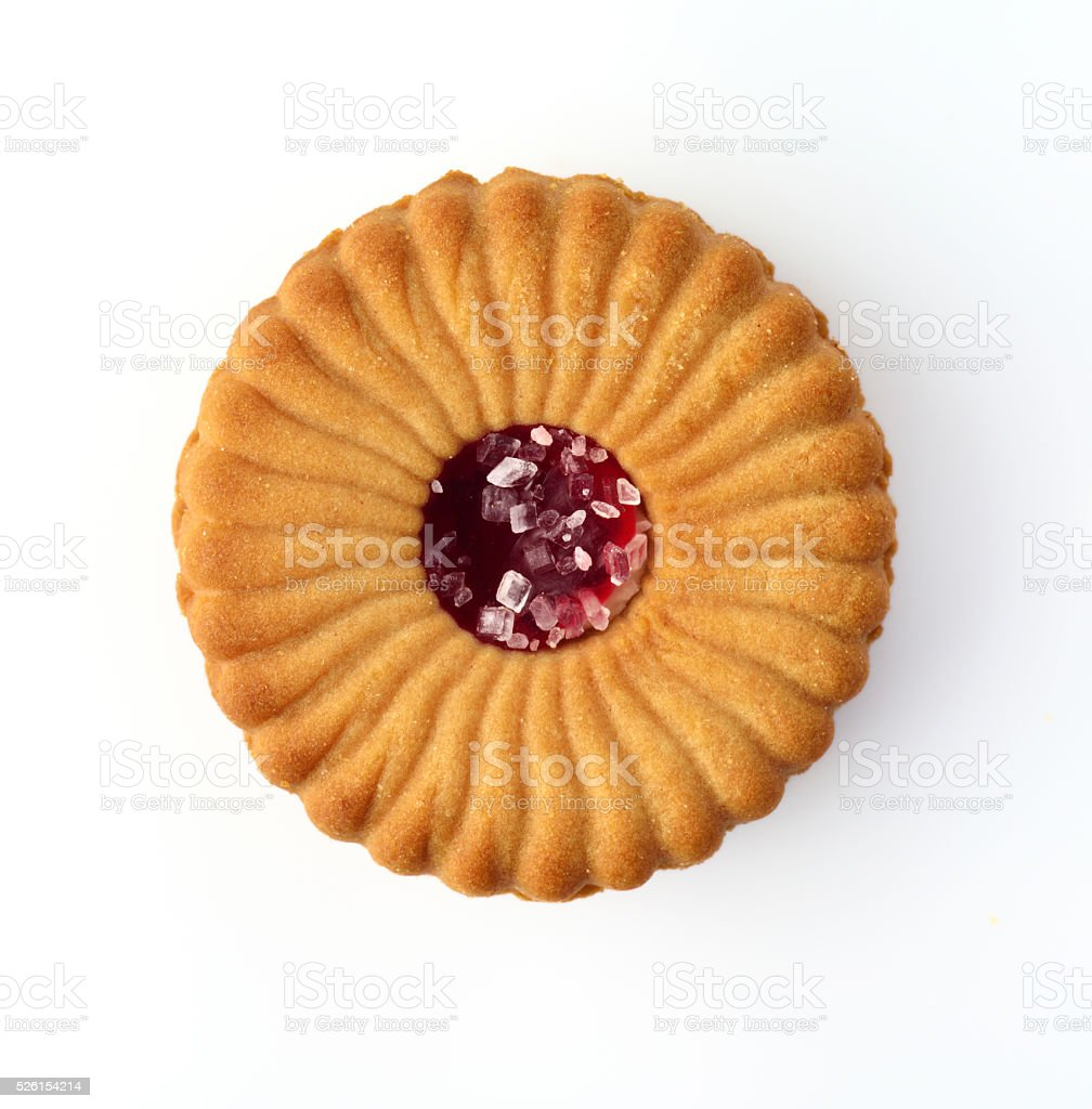 Cookie with Red Jelly and Sugar Crystals on White stock photo