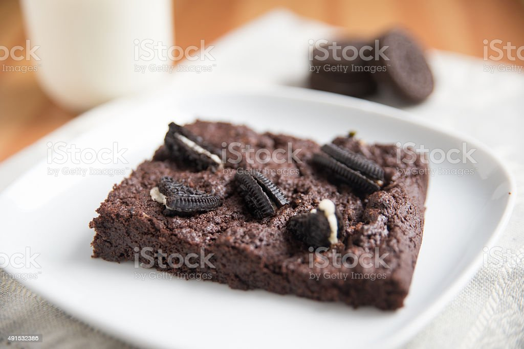 Cookies and Cream Brownie stock photo