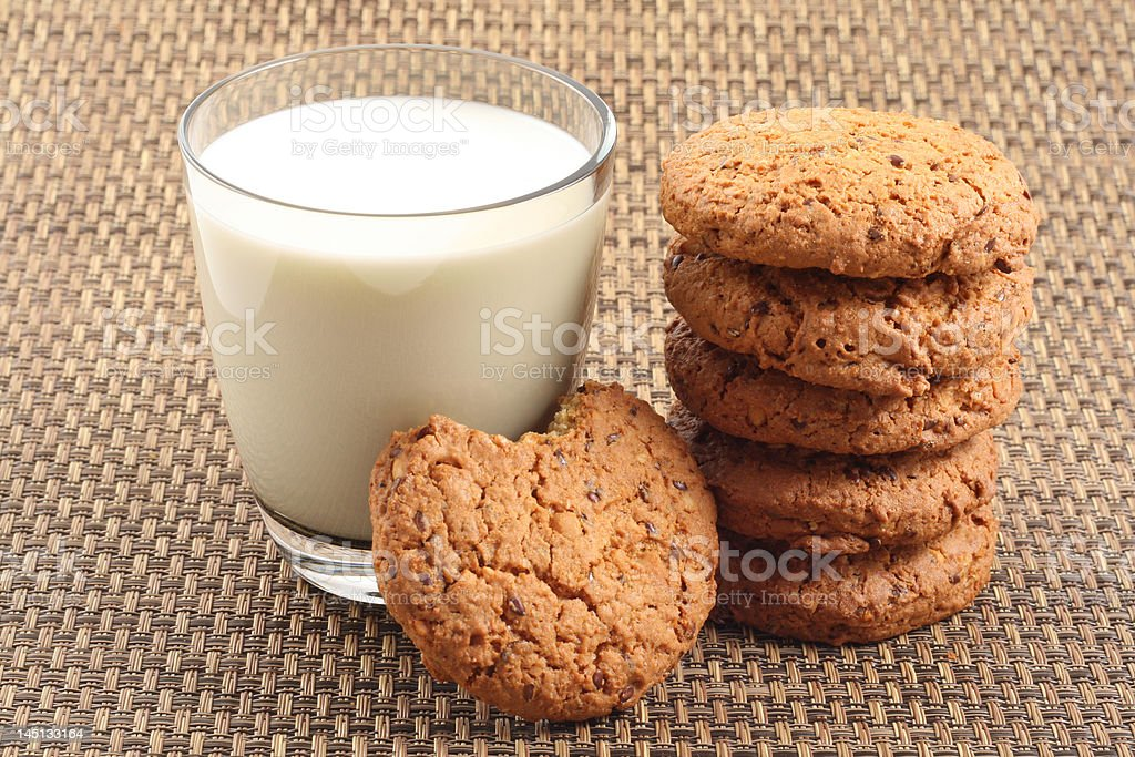 cookies and glass of milk royalty-free stock photo