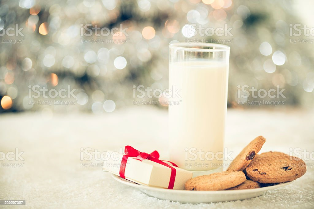 Cookies and milk for Santa Claus stock photo