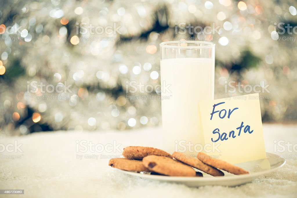Cookies and milk for Santa Clause stock photo