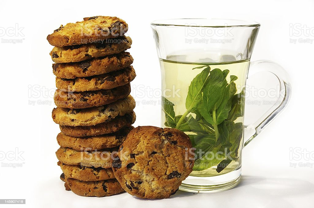 Cookies and mint tea royalty-free stock photo