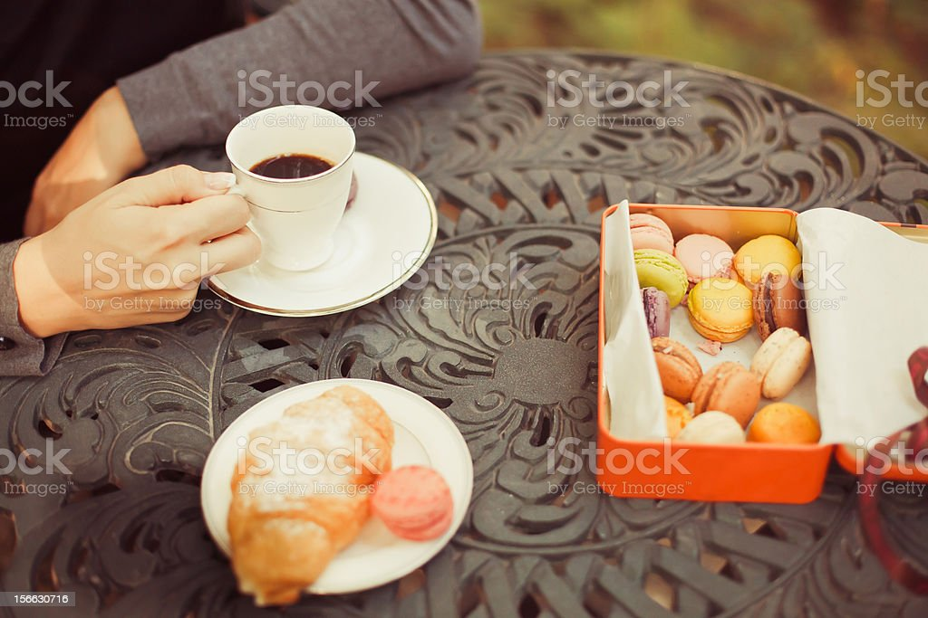 Cookies and tea cup served on the table royalty-free stock photo