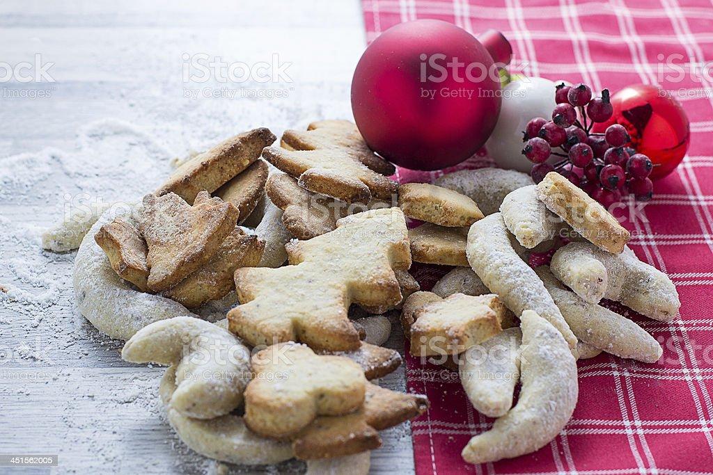 Cookies and vanilla crescents stock photo