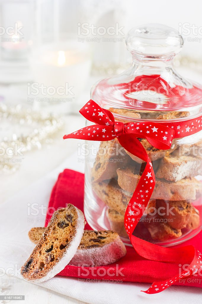 cookies biscotti in glass jar for Christmas stock photo