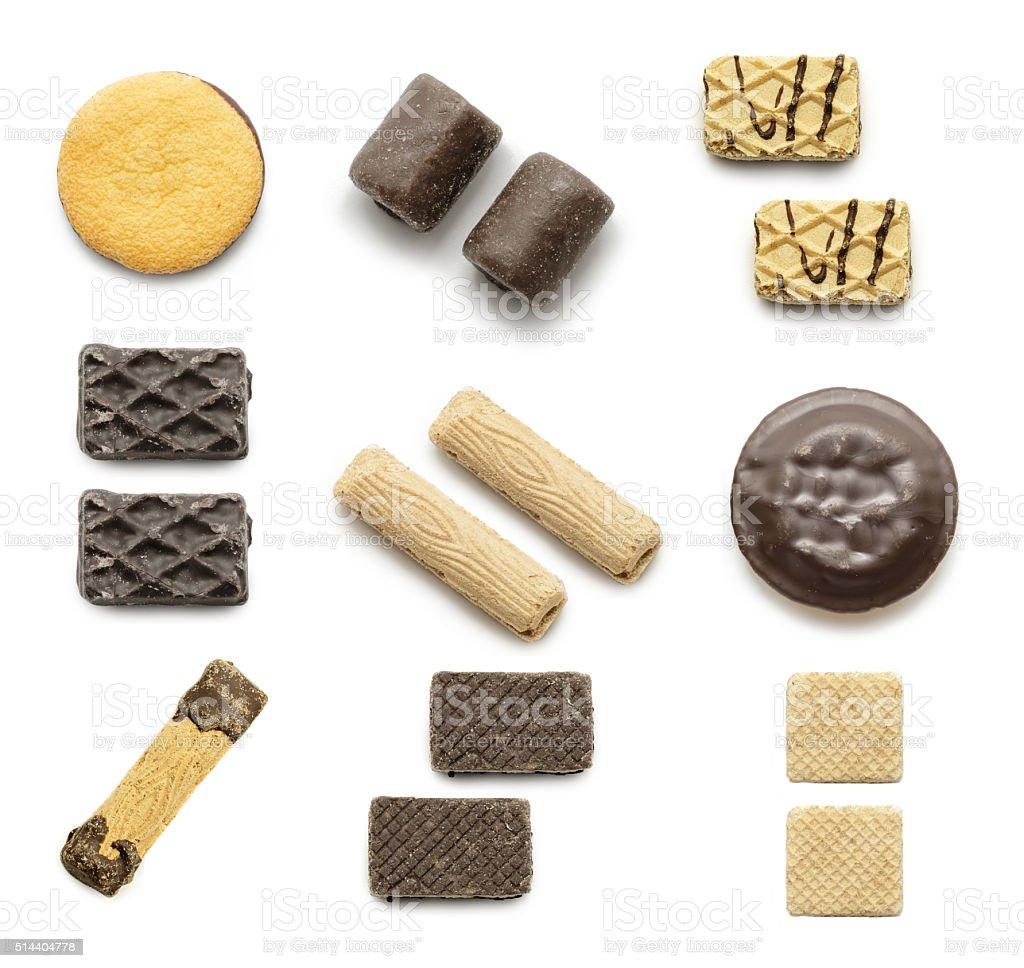 Cookies coleção em um fundo branco foto royalty-free