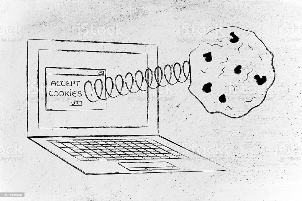 cookies coming out of laptop screen from a browser stock photo