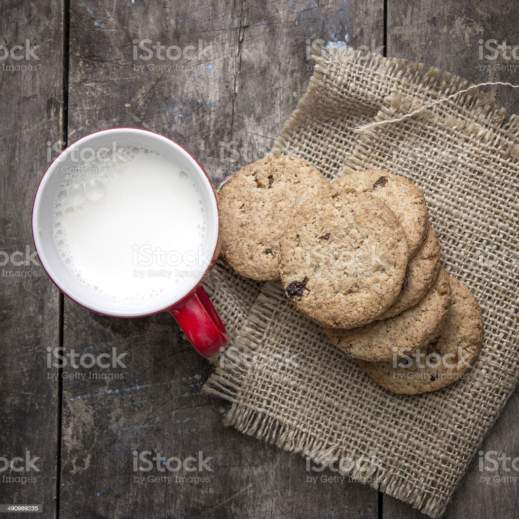 Cookies from above with milk stock photo