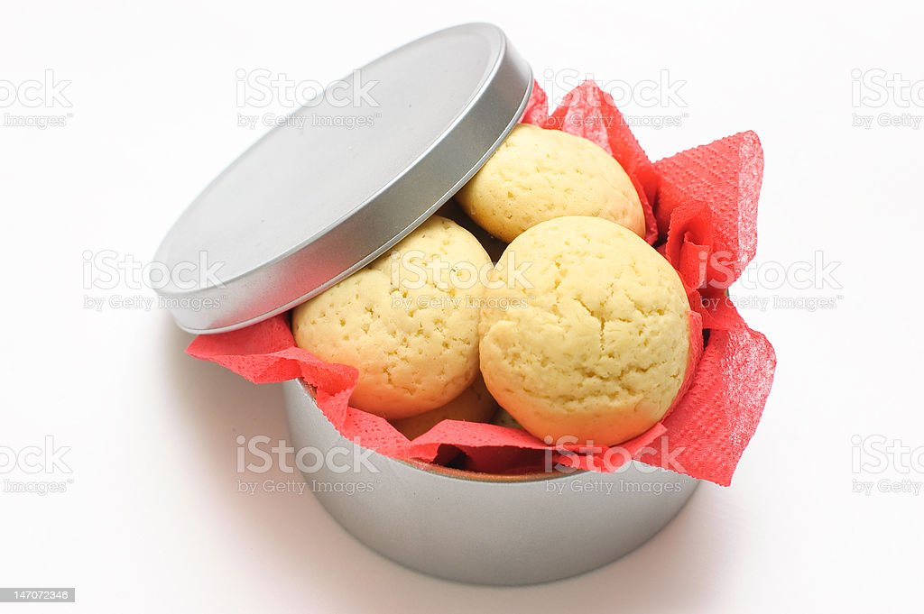 Cookies in a round box royalty-free stock photo