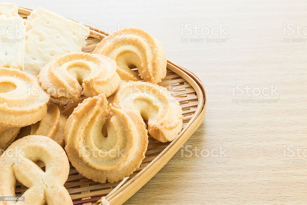 Cookies in bamboo bowl stock photo