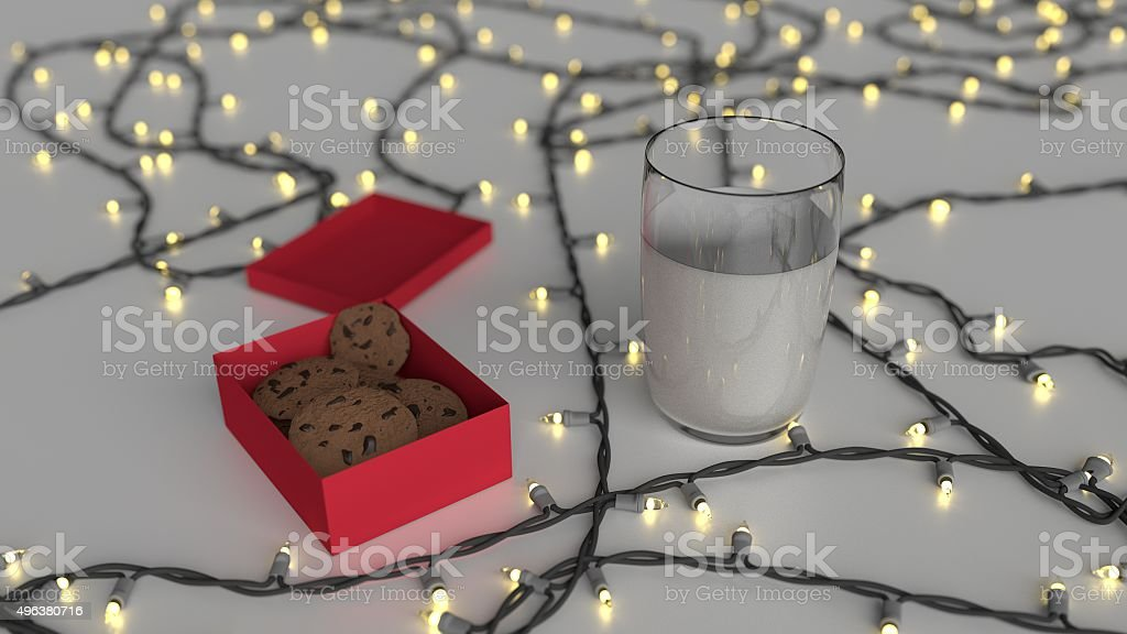 Cookies in Gift box and mik with Christmas lights stock photo
