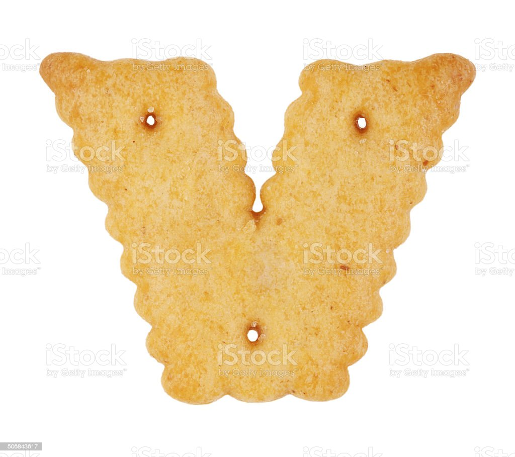 Cookies in the form of the letter 'v' stock photo