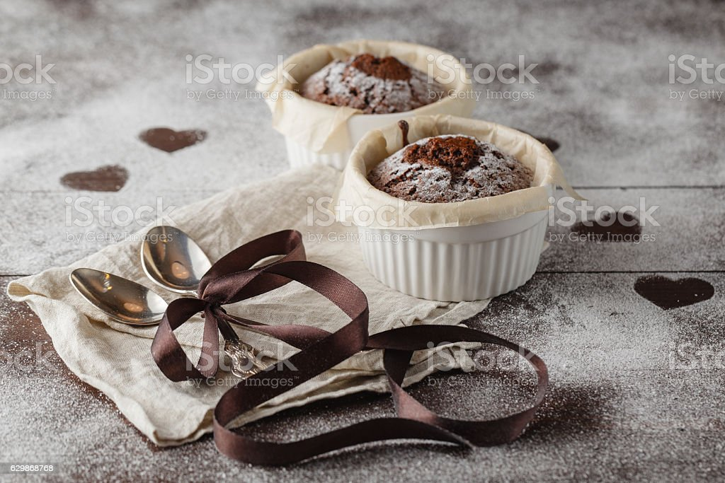 Cookies in the Shape of Heart for Valentine Day on stock photo