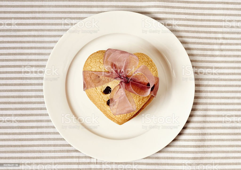 Cookies in the shape of heart, St. Valentines Day stock photo