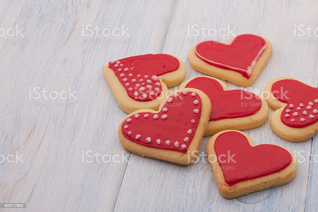 cookies in the shape of hearts on Valentine's Day stock photo