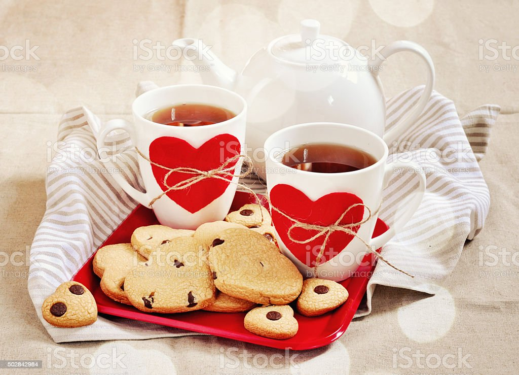 Cookies in the shape of hearts. Valentine's concept stock photo